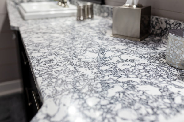 Beautiful granite marble countertops in bathroom remodel project
