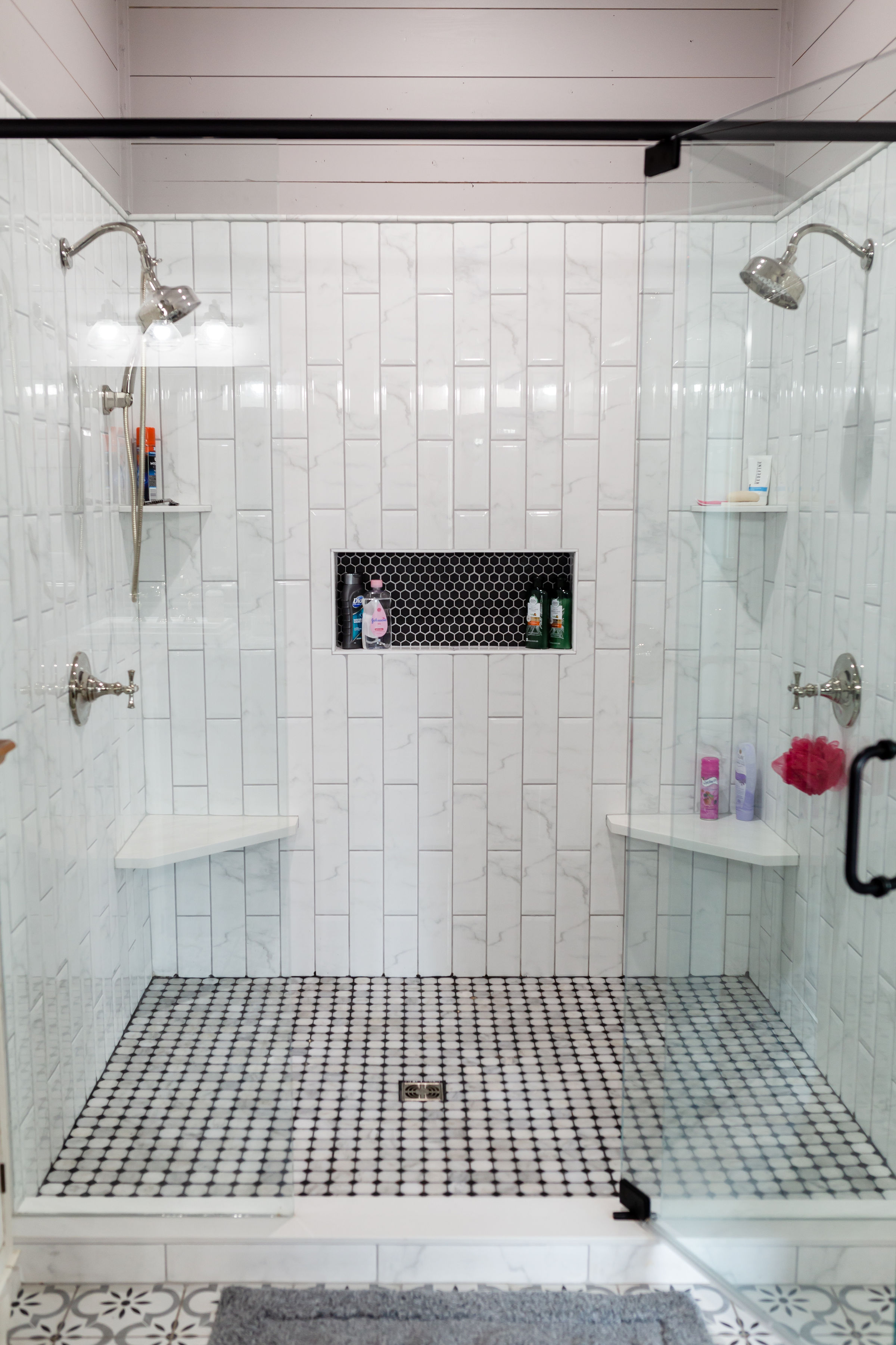 Pearl White And Black Octagon Marble Mosaic Muse Kitchen And Bath