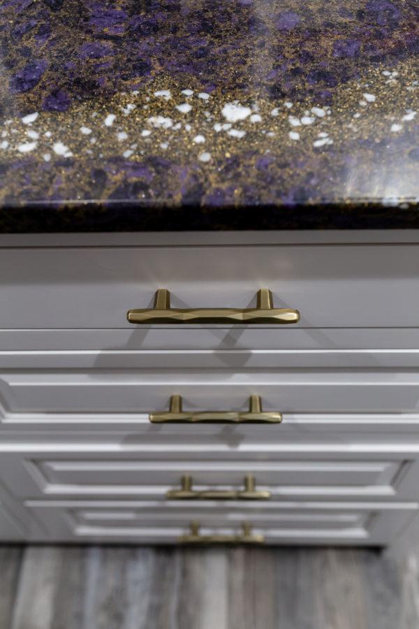 Designer cabinet hardware in home remodel project