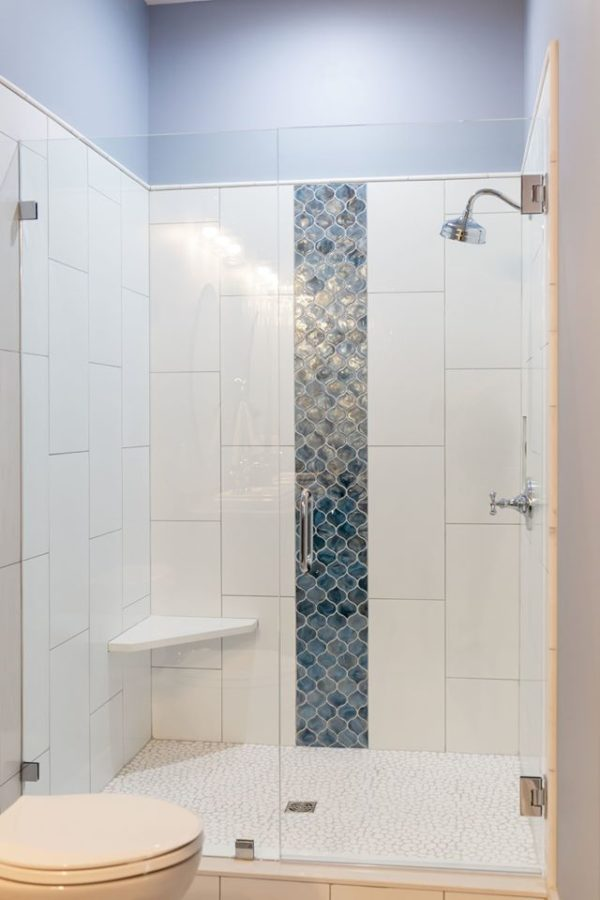 elegant tile work blue and white tile Muse bathroom remodel